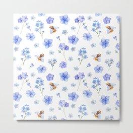 Elegant lavender brown watercolor honey bee floral Metal Print