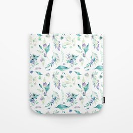 Modern jade green lavender watercolor floral Tote Bag