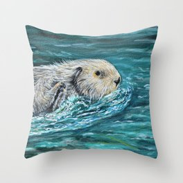 Ooh Goody Lunchtime Sea Otter Painting Throw Pillow