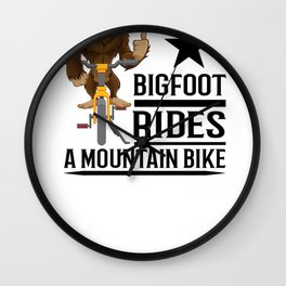 Bigfoot Rides a Mountain Bike Wall Clock