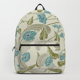 Modern chic ivory mint blue green floral Backpack
