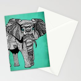 Tribal Elephant Black and White Version Stationery Cards