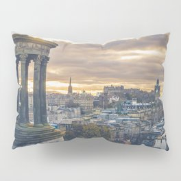 Edinburgh city and castle from Calton hill and Stewart monument Pillow Sham