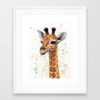 giraffe Framed Art Prints featuring Giraffe Baby by Olechka