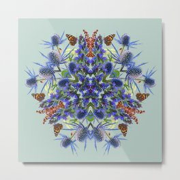 Botanical Mandala - English Coastal Summer  Metal Print
