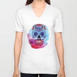 Watercolor Day of the dead sugar skull. Mexican skull illustration. Unisex V-Neck