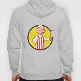 Butcher Pig Holding Meat Cleaver Circle Cartoon Hoody