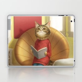 A cat reading a book Laptop & iPad Skin