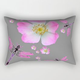 ROSE DRAGONFLIES & WILD PINK ROSES Rectangular Pillow