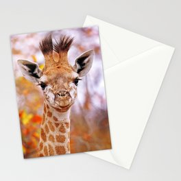 Young giraffe in colorful leaves, South Africa Stationery Cards