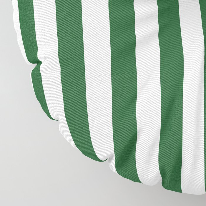 Large Forest Green and White Rustic Vertical Beach Stripes Floor Pillow