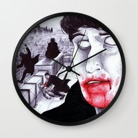 """modern vampires of art history Wall Clocks featuring """"Modern Vampires of the City"""" by Cap Blackard by Consequence of Sound"""