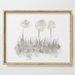 Greyscale Garden - Trichromatic Dandelions Serving Tray