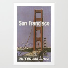 San Francisco, United Air Lines - Vintage Travel Poster Art Print