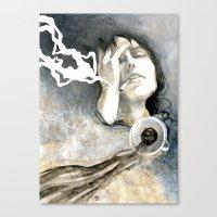 cigarettes Canvas Prints featuring Coffee & Cigarettes by Jana Heidersdorf Illustration