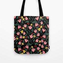 Pink Floral Pattern on Black Tote Bag