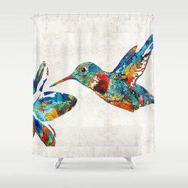 Colorful Hummingbird Art by Sharon Cummings Shower Curtain