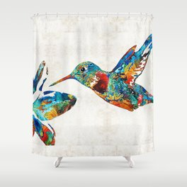 Colorful Hummingbird Art by Sharon Cummings Shower Curtain