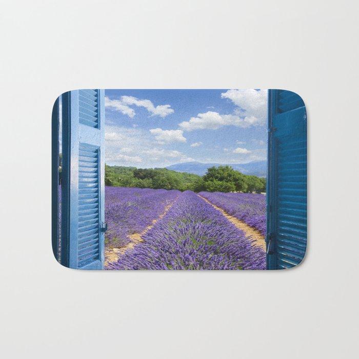 wooden shutters, lavender field Bath Mat