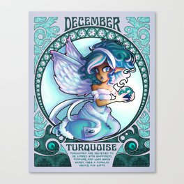 Birthstone Nouveau - December Canvas Print