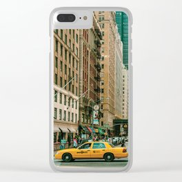 New York street and a yellow taxi Clear iPhone Case