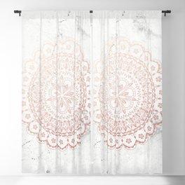 Rose gold mandala and grey marble Blackout Curtain