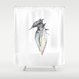 Kingfisher 1h. Full color plus black borders with white background-(Red eyes series) Shower Curtain