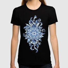 Pattern in Denim Blues on White T-shirt
