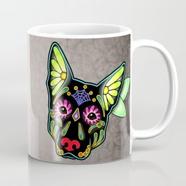 German Shepherd in Black - Day of the Dead Sugar Skull Dog Coffee Mug