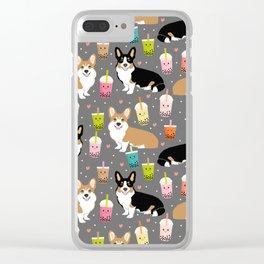 Corgi boba tea bubble tea kawaii food welsh corgis dog breed gifts Clear iPhone Case