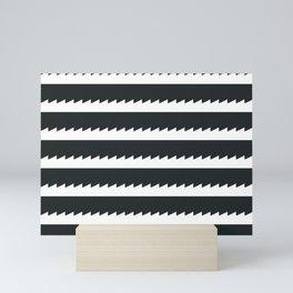 Black and White Sawtooth Pattern Mini Art Print
