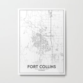 Minimal City Maps - Map Of Fort Collins, Colorado, United States Metal Print