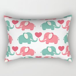 Elephants - pink and green Rectangular Pillow