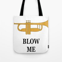trumpet Tote Bags featuring Trumpet by Laura Maria Designs