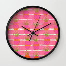 Pink Pineapples Wall Clock