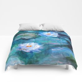 Blue Water Lilies Comforters