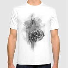 Cat Skull Charcoal Drawing White Mens Fitted Tee MEDIUM