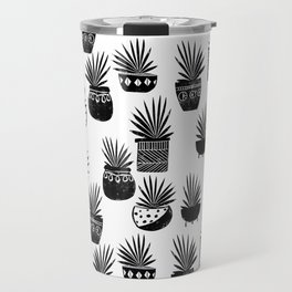 houseplant linocut aloe vera art botanical black and white lino printmaking art minimal modern Travel Mug