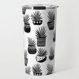 houseplant linocut aloe vera art botanical black and white lino printmaking art minimal modern Travel Mug