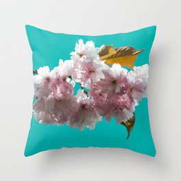 Cheery blossom green background Throw Pillow