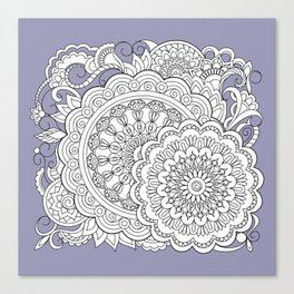 zen-tangle composition with mandalas and flowers Canvas Print