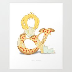 Pizza & Beer Art Print