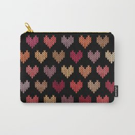 Colorful Knitted Hearts VII Carry-All Pouch