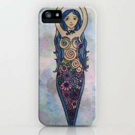 Pearlescent floral spiral goddess iPhone Case