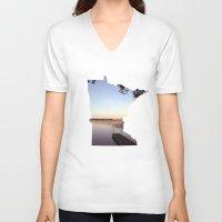minnesota V-neck T-shirts featuring Lake Minnesota by Keaton