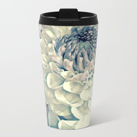 Creamy Turquoise And Pink Dahlias Metal Travel Mug
