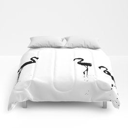 We Are The Three Flamingos Silhouette In Black Comforters