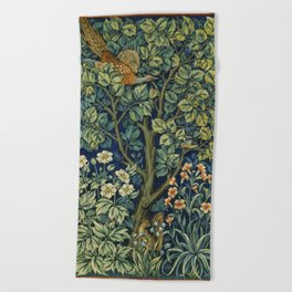 Cock Pheasant (1916) by William Morris and John Henry Dearle Beach Towel