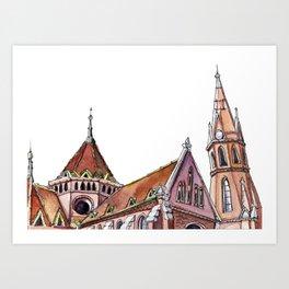 Hungarian church - secession | neo gothic Art Print