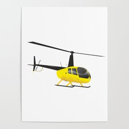 Light Black and Yellow Helicopter Poster